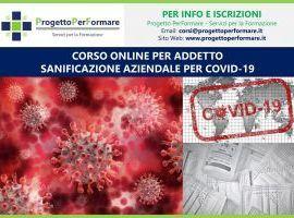 Corso online Addetto Sanificazione Aziendale per Covid-19
