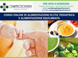 Corso online di alimentazione equilibrata e in età pediatrica