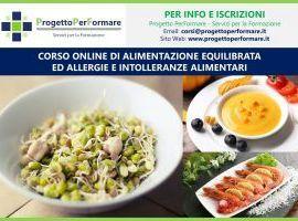 Corso online alimentazione equilibrata ed allergie e intolleranze alimentari